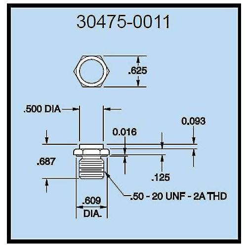Dillon 30475-0011 Flat Compression Load Fitting for 2,000 to 10,000 lb (1000 & 5000 kg) Capacity Force Gauges