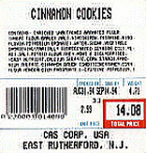 CAS LST-8020 LP-Series or CL-5000 or CL-5500 Label, UPC w/Ingredients, 12 rolls 58 x 60 mm