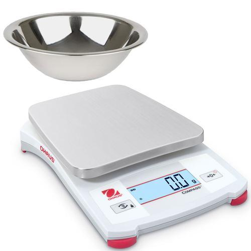Ohaus CX-1221B Compass CX Kitchen Scale with Stainless Steel Bowl 1200 x 0.1 g