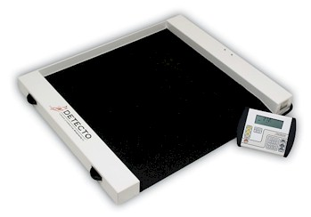 "Detecto digital wheelchair scale provides the economical answer to weighing patients in wheelchairs. Detecto ""Roll A Weigh"" wheelchair scales are semi-portable, letting you put a wheelchair scale where you need it, when you need it."